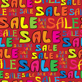 Sale text on red seamless pattern Royalty Free Stock Images