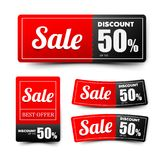 Sale text on red tag banner set 002 Royalty Free Stock Images