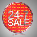 24-7 Sale. Text '24-7 sale' with 3D uppercase silver letters superposed on a red circle inscribed repeatedly with text 'sale' in yellow uppercase letters, silver Royalty Free Stock Photography