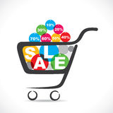 Sale text in shopping cart Royalty Free Stock Photo
