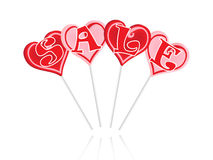 Sale text with sweet lollipops Stock Photo