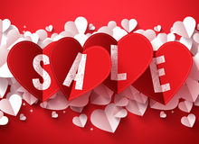Sale text vector design for valentines day in folded red heart shape paper Stock Photography