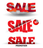 Sale text vector with shadows. Stock Photo
