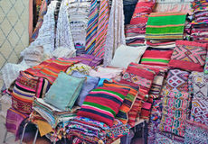 Sale of textiles for home in Marrakech in Morocco Stock Images