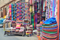 Sale of textiles on the market Stock Image