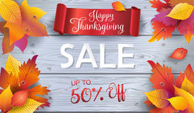 Sale Thanksgiving Fall Leaves On Wood Wallpaper Stock Photography