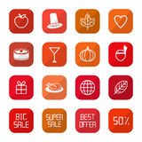 Sale Thanksgiving Icons Stock Photos