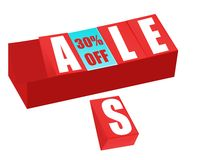 Sale and thirty percent off sign brick Royalty Free Stock Photo