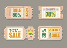 Sale tickets. Coupon price, promotion discount illustration Vector Royalty Free Stock Photos