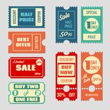 Sale tickets vector collection Royalty Free Stock Photos