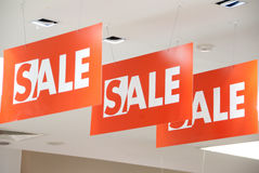 Sale time. Details of the mall interior Royalty Free Stock Photo