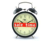 Sale time on alarm clock. Isolated on white Royalty Free Stock Photography