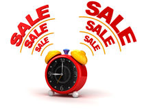 Sale time on alarm clock Stock Photos