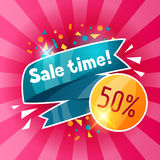 Sale time banner. Advertising flyer for commerce, discount and special offer Stock Image