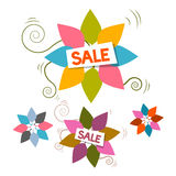 Sale Title on Colorful Leaves Set Royalty Free Stock Photos