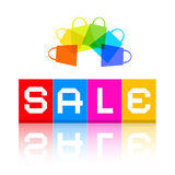 Sale Title and Colorful Shopping Bags Stock Photos