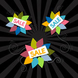 Sale Titles on Abstract Leaves Background Stock Images