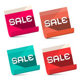 Sale Titles on Notebook Bent Paper Sheets Set Royalty Free Stock Photo