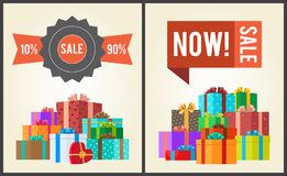 Sale from 10 to 90 Buy Now Promo Label Gift Boxes. Sale from 10 to 90 buy now promo labels with piles of gift boxes vector illustration posters with mountains of stock illustration