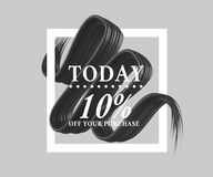 Sale today 10 off sign over art brush. Perfect design for a shop and sale banners. 3d illustration. Summer, texture, today, up, white royalty free illustration
