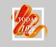 Sale today 10 off sign over art brush. Perfect design for a shop and sale banners. 3d illustration. Summer, texture, today, up, white stock illustration