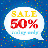 Sale today only 50% off on speech bubble banner Stock Photos