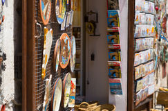 Sale of tourist souvenirs in Besalu, Catalonia Stock Image