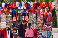 Sale of tourist souvenirs in Seville Stock Photography