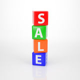 Sale Tower out of Letter Dices Stock Photography