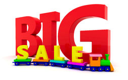 Sale of toys. Toy train with letters BIG sale Stock Image
