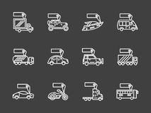 Sale of transport white line icons set Stock Images