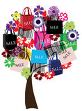 Sale tree. Illustration of a sale tree with shopping bags and bar codes Royalty Free Stock Image