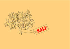 Sale. Tree with label sale on a beige background Vector Illustration