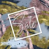 Sale trendy background with golden strokes. Trendy background of rose gold and golden strokes with white frame and Sale lettering stock photo