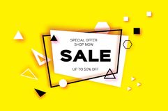 Sale. Trendy Geometric elemets and frame in paper cut style. Discount. For brochure, flyer or presentations design Royalty Free Stock Photos