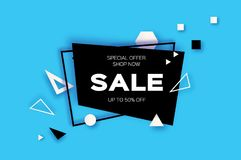 Sale. Trendy Geometric elemets and frame in paper cut style. Discount. For brochure, flyer or presentations design Stock Photos