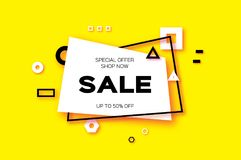 Sale. Trendy Geometric elemets and frame in paper cut style. Discount. For brochure, flyer or presentations design Royalty Free Stock Image