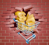 Sale Trolley Breaking Wall Royalty Free Stock Photography