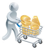 Sale trolley person. Pushing a shopping cart with the word sale in it. Concept for buying things in a retail sale Royalty Free Stock Photos