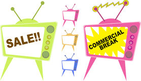Sale TV Ad. Kinky television broadcasting sale and commercial break Royalty Free Stock Image