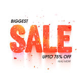 Sale Typographical Background. Elegant glossy Biggest Sale Vector Typography. Usable for Poster, Banner, Flyer or Pamphlet with Upto 75% Off vector illustration