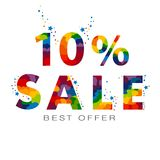 Sale up to 10 percent BEST OFFER. Colored text .Vector Vector Illustration