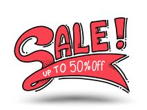 Sale up to 50 percent drawn style for promotion advertising. Royalty Free Stock Photography