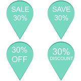 Sale up to 30 percent on label set.  Stock Image