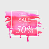 Sale up to 50 percent off sign over art brush watercolor stroke paint abstract texture background vector illustration. Perfect watercolor design for a shop and royalty free illustration