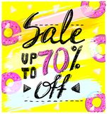 Sale up to 70 percents, hand drawn calligraphic vector banner Royalty Free Stock Photos