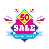 Sale up to 50% - vector concept illustration in flat style. Special offer origami creative badge on white background. Advertising promotion banner. Abstract stock illustration