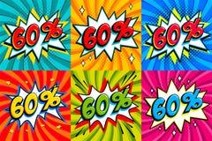 Sale uppsättning Sale sextio procent 60 av etiketter på komiker utformar smällformbakgrund Befordran för rabatt för popkonst komi stock illustrationer
