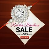 Sale upto 50% discount banner or flyer design for Raksha bandhan. Sale upto 50% discount banner or flyer design with wooden textured background and beautiful Royalty Free Stock Images