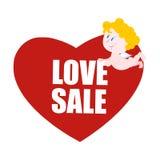 Sale valentindag Hjärta och kupidon Logo för valentindagsp Arkivfoto